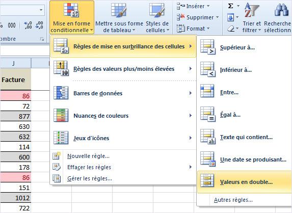 Isoler les valeurs en doubles sous Excel