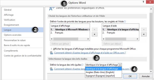 Modifier les paramètres de langue des info bulles sous Microsoft