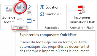 Microsoft word quickpart