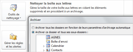 Archiver calendrier Outlook