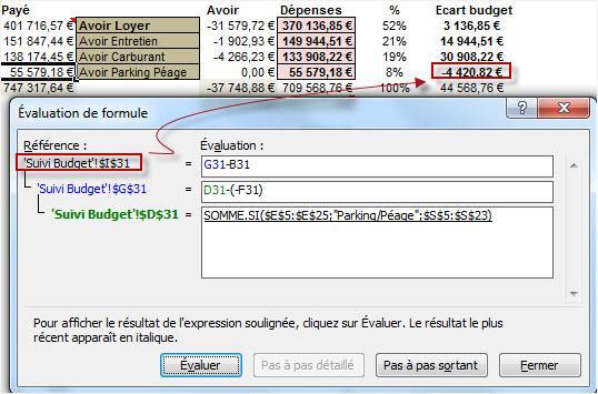 Evaluer une formule Excel