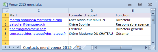 2-Emailing excel word outlook liste de contacts