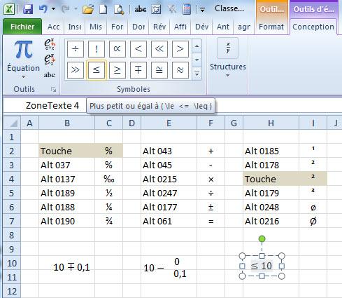 Excel caracteres et symboles mathematiques activ assistante