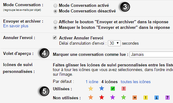 3- régler l'affichage general gmail