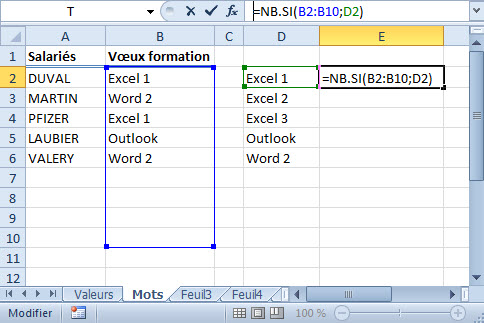 Additionner excel mots nb si