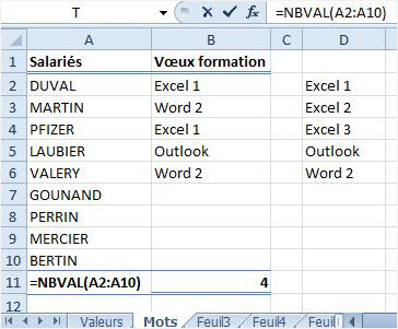 Excel additionner mot formule nb val