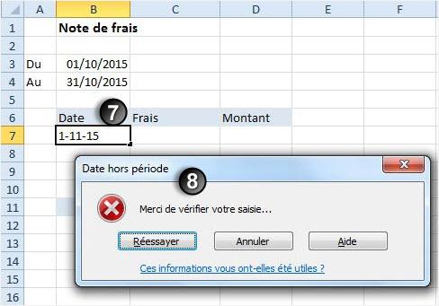 Excel securiser saisie dates message erreur
