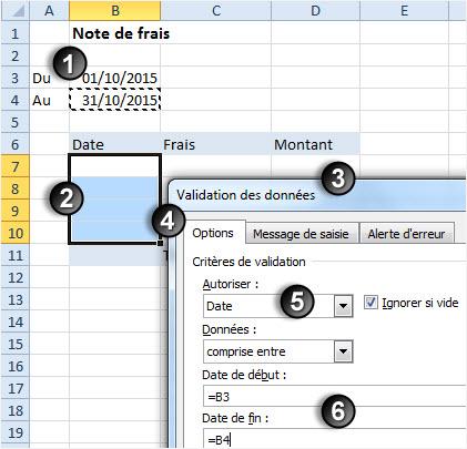 Excel securiser saisie dates