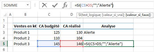 Excel Formule conditionnelle SI