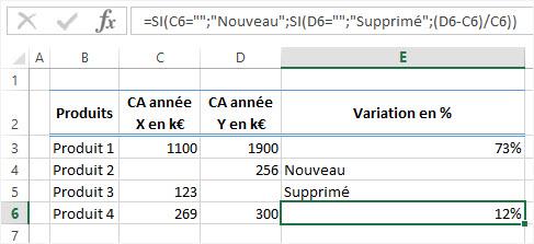 Excel Formule conditionnelle SI SI
