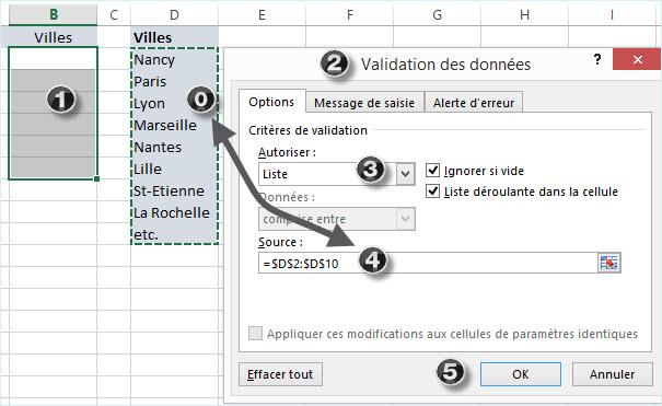 Liste déroulante Excel méthode B sélection sur feuille active