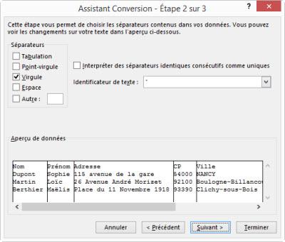 Excel convertir des donnees etape 2 sur 3