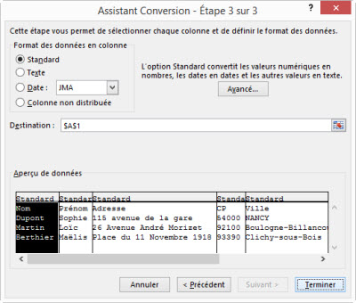 Excel convertir des donnees etape 3 sur 3