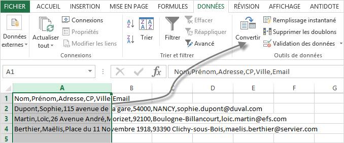 Distribuer des données à l'aide de la fonction convertir