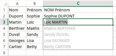 Utiliser le remplissage instantane Prenom NOM