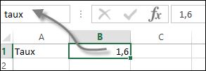 nommer une cellule sous Excel