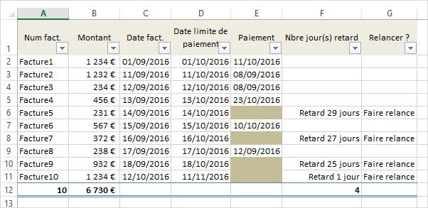 calculer des dates  Excel suivi des factures