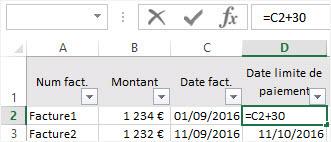 Calculer des dates Excel ajouter 30 jours a une date