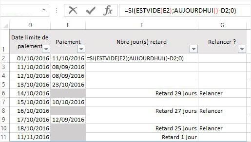 Calculer des dates Excel retard paiement