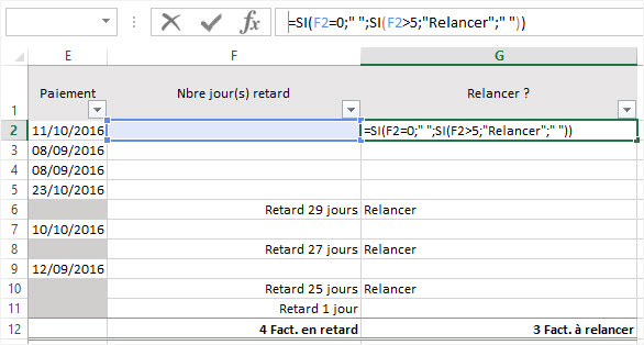 Calculer des dates Excel relance conditionnelle