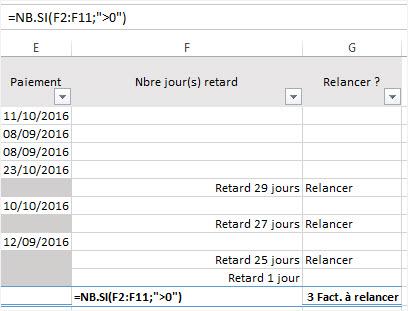 Calculer des dates Excel nombre de factures en retard
