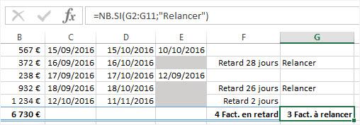Calculer des dates Excel nombre de factures a relancer