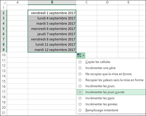 calendrier de jours ouvres