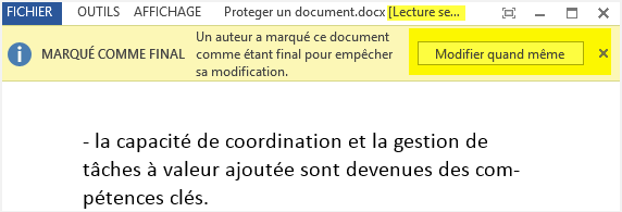ouverture d un document marque comme final