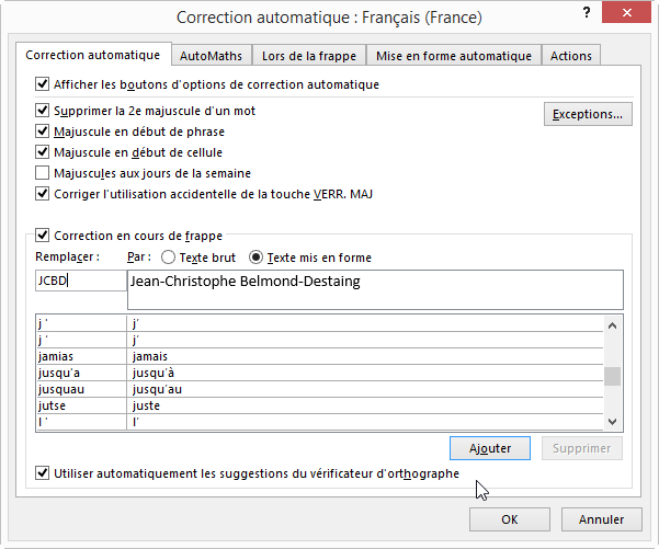 Fiche pratique word correction automatique