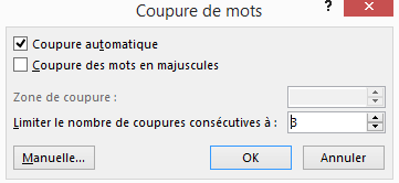 5- Options de coupure de mots