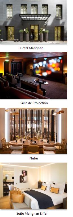L'Hôtel Marignan Champs-Élysées, 5 étoiles, vous reçoit dans une demeure historique de 45 chambres et 5 suites, entièrement revisitées par Pierre Yovanovitch en 2012. Situé au centre du 8e arrondissement, entre l'Avenue Montaigne, les Champs-Élysées et l'Avenue George V, l'élégance parisienne s'exprime dans toute sa quintessence. Le restaurant Nubé, le bar 15cent15 et une salle de projection rendent votre séjour encore plus inoubliable. Vos événements sur mesure à l'hôtel Marignan Champs-Élysées Pour vos groupes ou événements exclusifs, découvrez ses différents espaces : • Salle de cinéma : un lieu unique pour vos projections, réunions et présentations jusqu'à 35 personnes. • Bar et Restaurant Nubé : déjeuners, dîners et cocktails jusqu'à 100 convives orchestré par le Chef Juan Arbelaez. • Suite Prestige : magnifique suite de 70m² avec une hauteur sous plafond de 4m donnant l'effet d'un grand appartement parisien – parfaite pour les réunions exclusives jusqu'à 18 personnes. • Suite Marignan Eiffel : suite signature de l'hôtel de 70m² avec une terrasse de 47m² et vue incroyable sur la Tour Eiffel – idéale pour les cocktails jusqu'à 50 personnes. Il est également possible de privatiser complètement l'hôtel de 45 chambres et 5 suites en fonction de la période et de la demande. Le Chef Juan Arbelaez au Marignan Champs-Élysées : Restaurant Nubé et Bar 15cent15 Depuis mars 2016, le chef colombien Juan Arbelaez s'est installé aux fourneaux du restaurant Nubé de l'hôtel Marignan Champs-Élysées pour y présenter sa « révolution gastronomique ». Découvrez une approche de la cuisine décalée tout en étant ancrée dans son époque. Du ceviche et leche del tigre au Saint-Pierre et chou métamorphose, Juan choisit les plus beaux produits frais et de saison avec en prime des notes colombiennes exotiques ! Une ambiance épurée, un espace discret et chaleureux pour se ressourcer en découvrant de nouvelles saveurs : l'occasion de faire une pause conviviale loin du stress extérieur !   À se