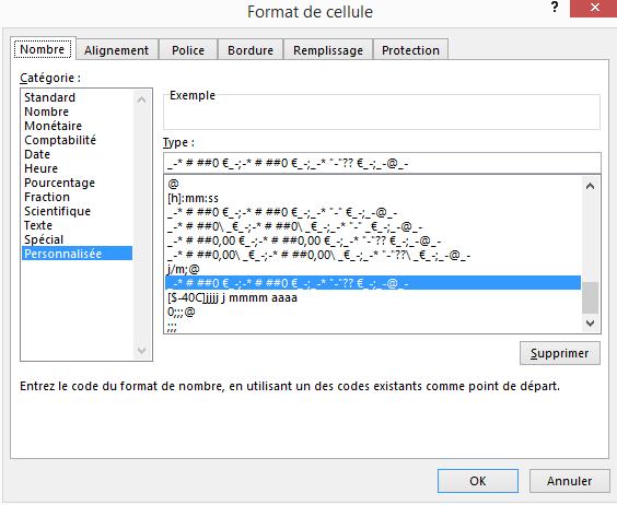 format personnalise conditionnel