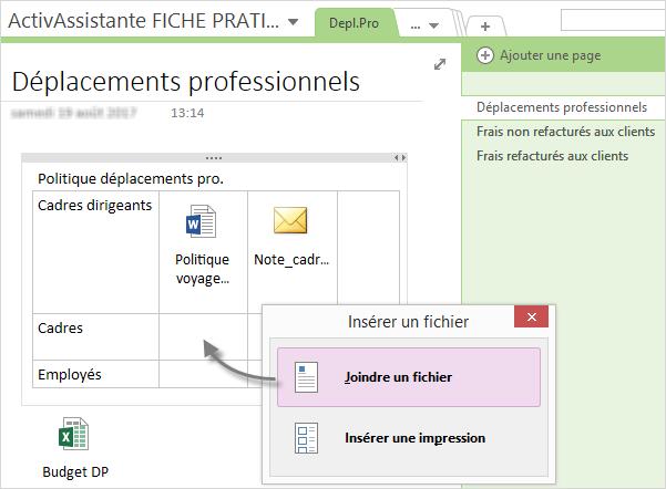 OneNote page fiche pratique activ assistante