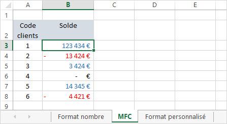 Excel colorer des valeurs avec une MFC