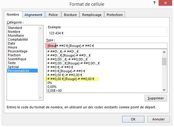 Excel format personnalise valeur positive en bleu negative en rouge