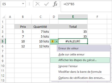 excel message erreur valeur evaluer formule