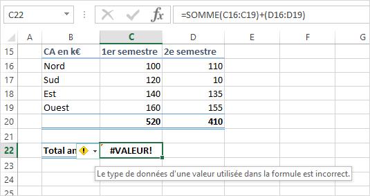 excel message erreur valeur formule imcomplete