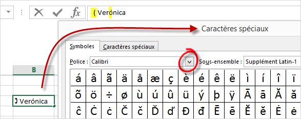 4-caracteres speciaux sous Excel