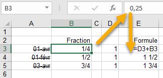 5- saisir des fractions sous Excel